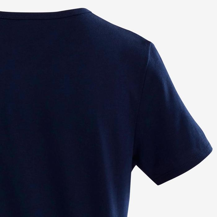 T-shirt met korte mouwen voor gym jongens 100 marineblauw/opdruk