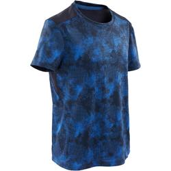 Camiseta manga corta sintética transpirable S500 niño GIMNASIA INFANTIL azul AOP