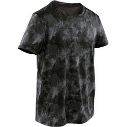 Boys' Breathable Synthetic Short-Sleeved Gym T-Shirt S500 - Black AOP