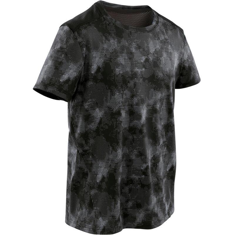 T-shirt enfant synthétique respirant - 500 noir avec motifs