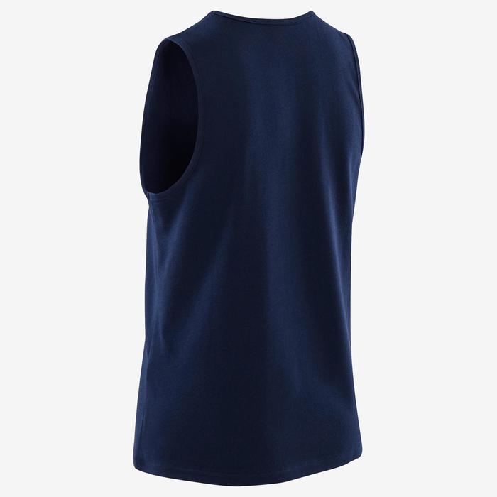 Mouwloos shirt voor gym jongens 100 marineblauw met witte opdruk