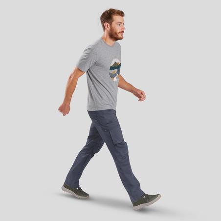 Чоловічі штани 100 для туризму - Темно-сірі