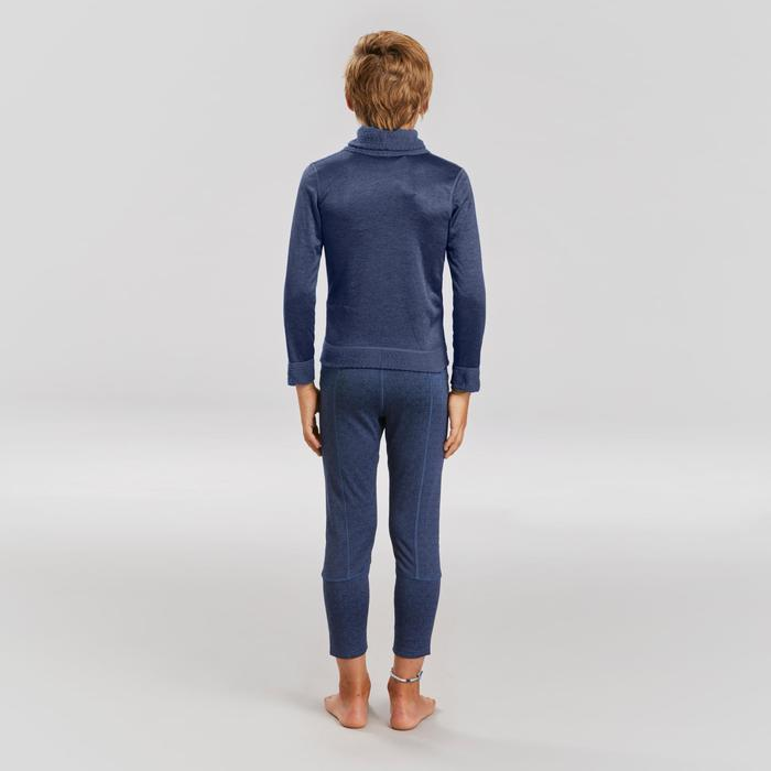 Camiseta Térmica Nieve y Esquí Interior Wed'ze 2WARM Cuello Alto Niños Azul