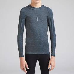 Thermoshirt kind Keepdry 100 lange mouw gemêleerd grijs