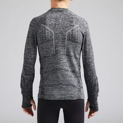 Thermoshirt kind Keepdry 500 lange mouw gemêleerd grijs