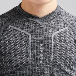Camiseta Térmica Kipsta Keepdry 500 niños gris jaspeado