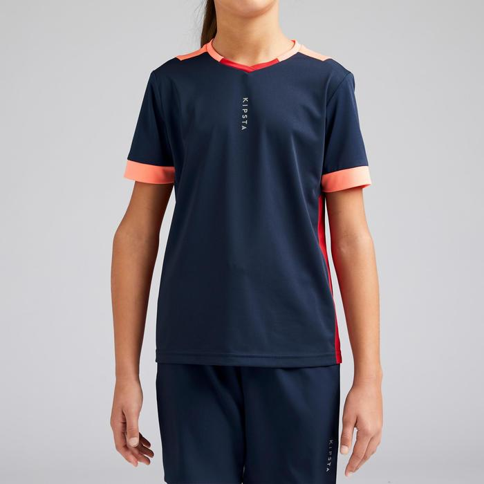 F500 Girls' Football Shirt - Navy Blue/Coral
