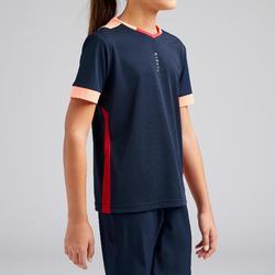 女童款足球上衣F500-軍藍色/珊瑚紅
