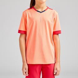 女童款足球上衣F500-珊瑚紅/軍藍色