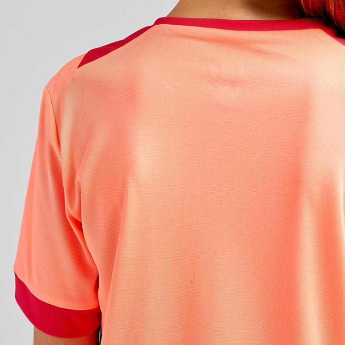 Voetbalshirt meisjes F500 koraalroze/marineblauw