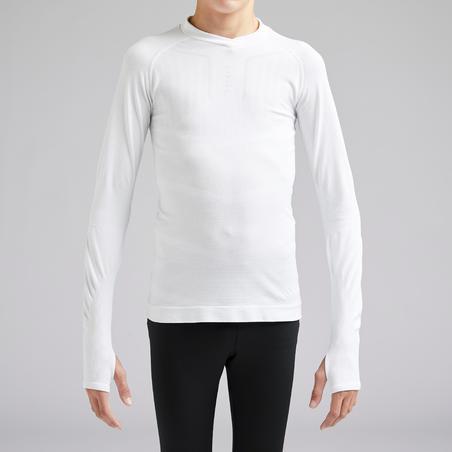 Kids' Long-Sleeved Football Base Layer Keepdry 500 - White