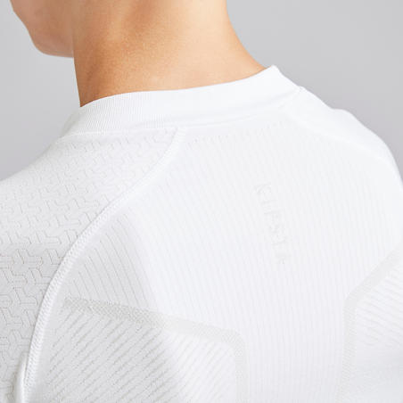 Kids' Long-Sleeved Base Layer Football Top Keepdry 500 - White
