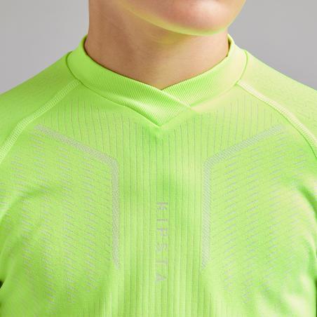 Kids' Long-Sleeved Base Layer Football Top Keepdry 500 - Neon Yellow