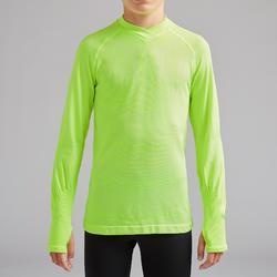 Camiseta Térmica Kipsta Keepdry 500 niños amarillo fluor