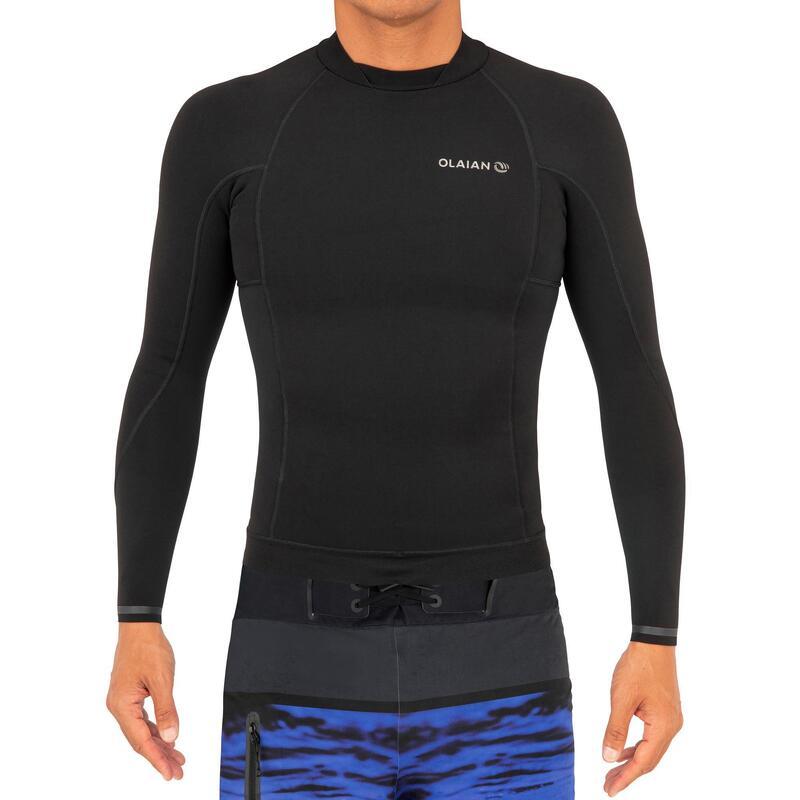 Top Neopreno Surf Hombre Olaian 900 Negro 1,5MM