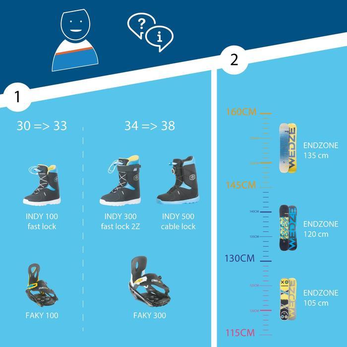 Chaussures de snowboard enfant, Indy 500, Cable Lock noires et bleues