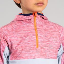 兒童款保暖長袖運動衫Kiprun - 紅灰配色