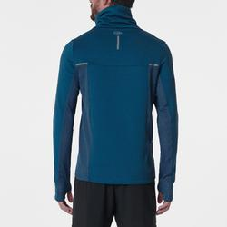 Hardloopsweater voor heren met hoge kraag Run Warm+ blauw