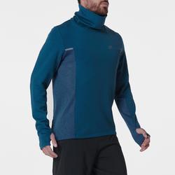 男款跑步高領立領針織衫RUN WARM+藍色