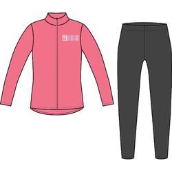 Warm trainingspak voor gym meisjes 100 Warmy rits roze/print