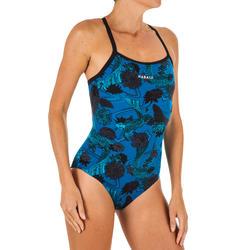 Maillot de bain de natation une pièce femme résistant au chlore Jade Koi Bleu