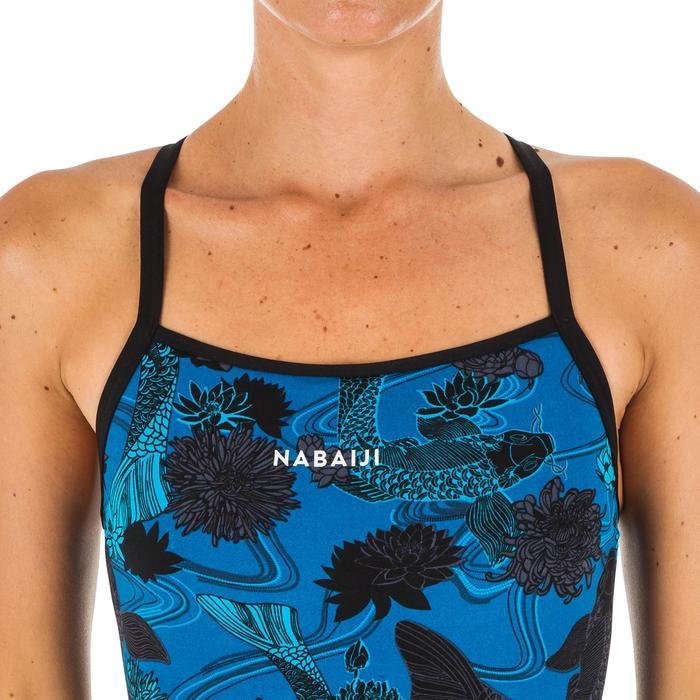 Sportbadpak voor zwemmen dames chloorbestendig Jade Koi blauw
