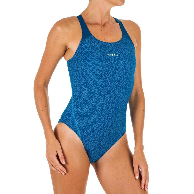 Maillot de bain 1 pièce de natation femme Kamyleon All Geo bleu
