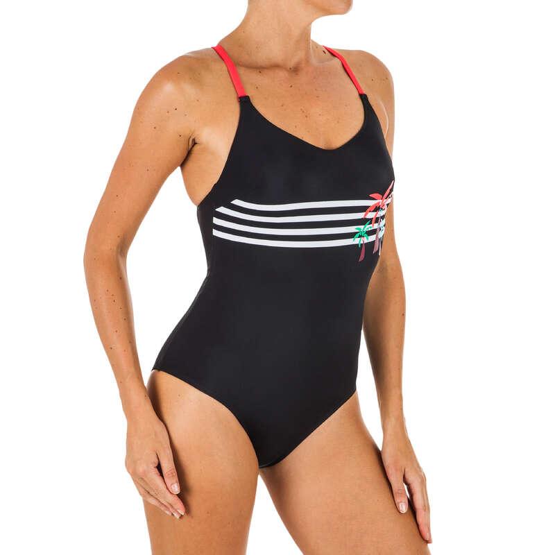 STROJE PŁYWACKIE DAMSKIE Pływanie - Strój 1cz Riana palm stripe NABAIJI - Stroje pływackie