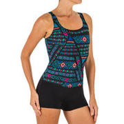 Women's Swimming 1-piece Shorty Swimsuit Heva All Afi - Black