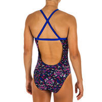 Girls' Swimming One-Piece Swimsuit Jade- All Mask Black