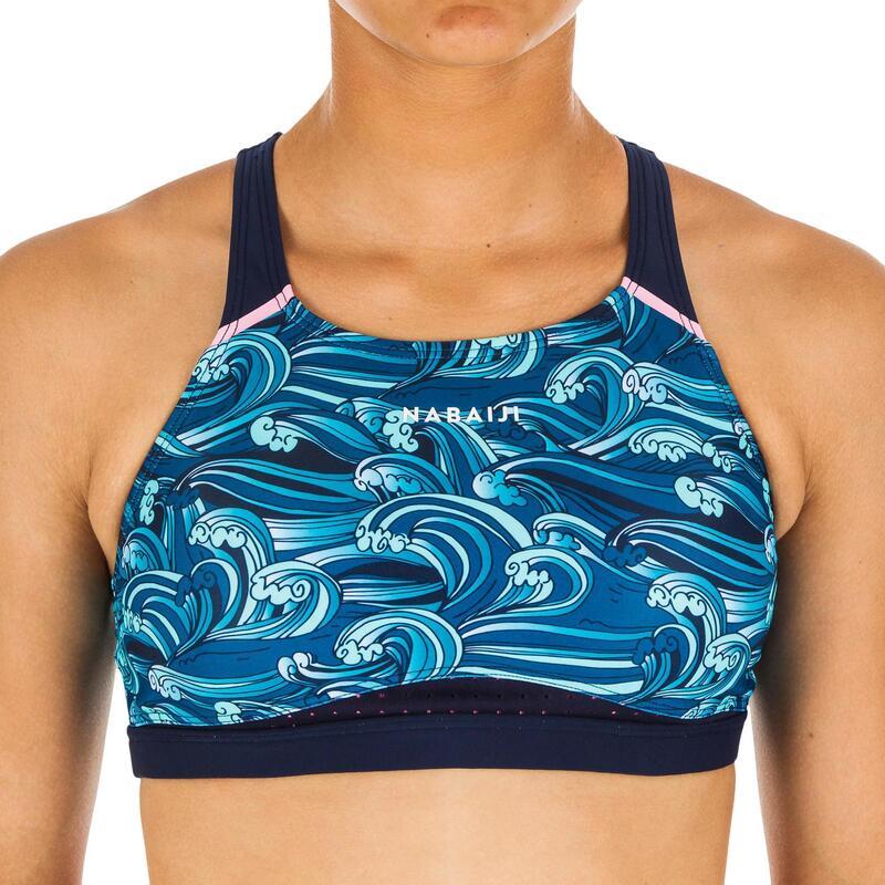 Haut de maillot de bain de natation fille Kamyleon Wave bleu