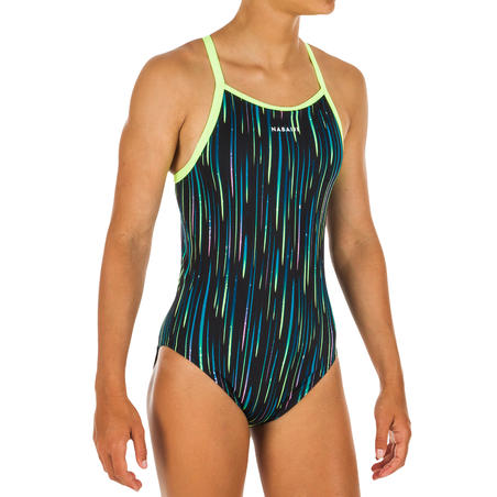 Girls' Swimming Chlorine-Resistant One-Piece Swimsuit Jade - All Neon