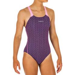 Girl's Swimming Costume V-cut - Printed Pink