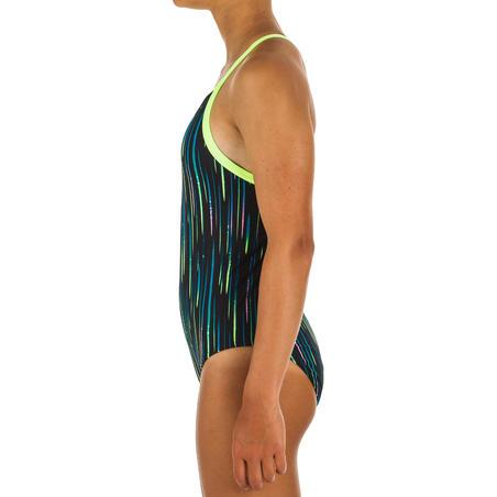 Girls' Swimming One-Piece Swimsuit Jade- All Neon Black