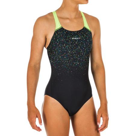Girls' Swimming One-Piece Swimsuit Kamyleon - Black Yellow
