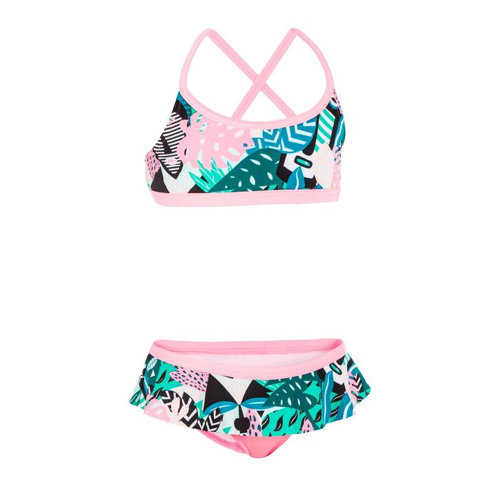 Maillot de natation fille deux pièces Riana skirt all mask vert