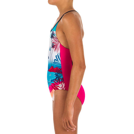 Girls' Swimming One-Piece Swimsuit - Riana Sunny Pink