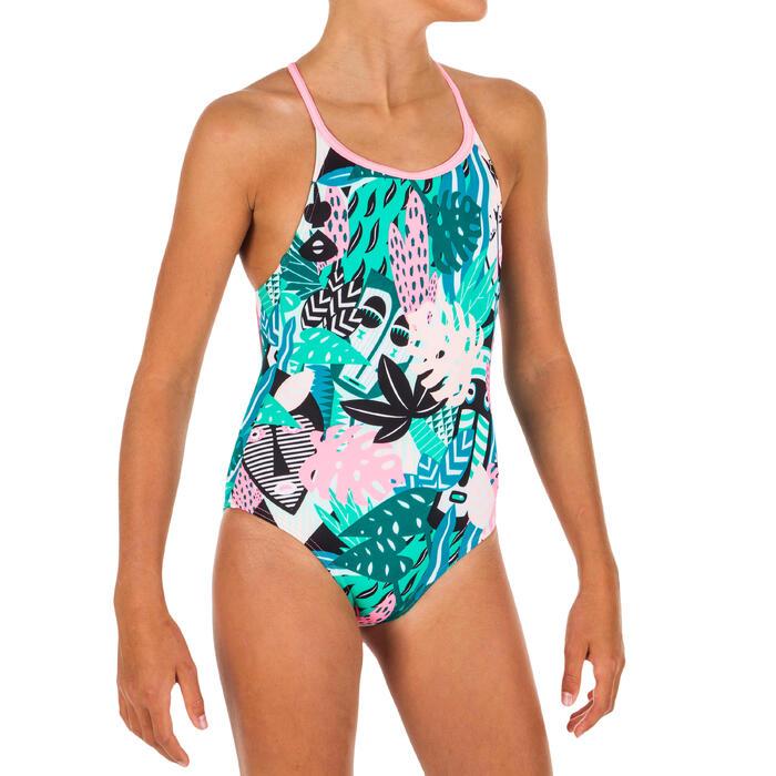 Maillot de bain de natation fille une pièce Riana all mask vert
