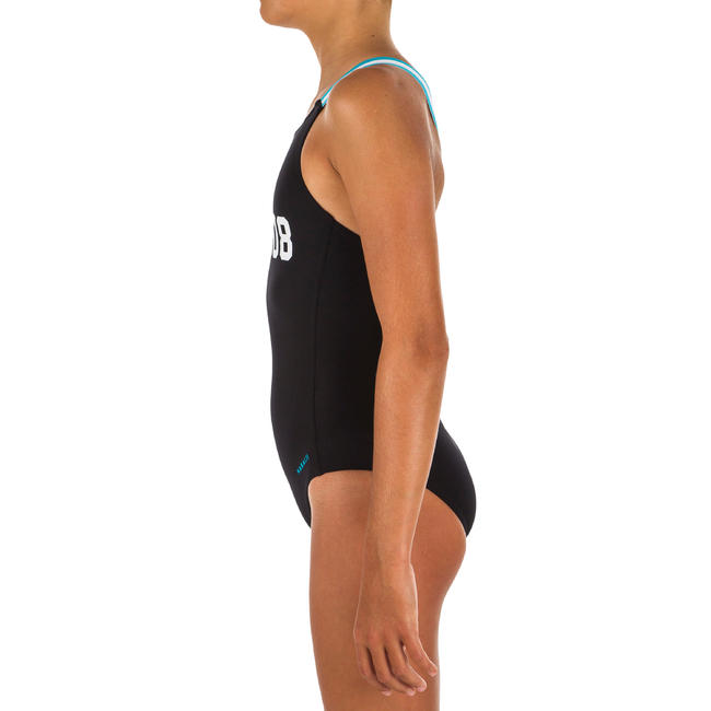 Girl Swimming Costume V-cut - Printed Black