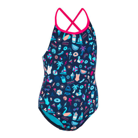 Girls' Swimming One-Piece Swimsuit - Riana All Playa Navy