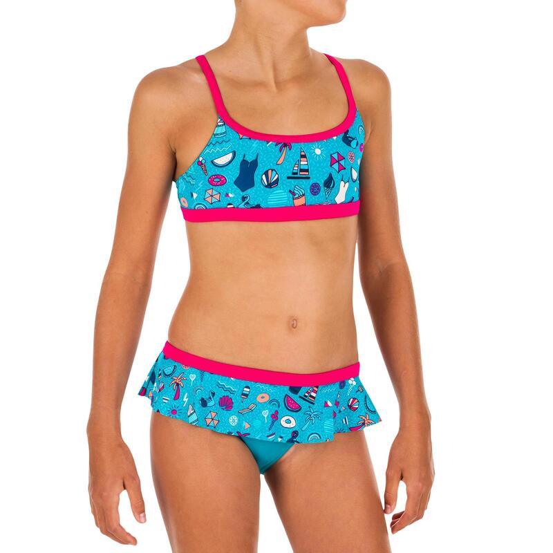 Girls' Swimming 2-piece Swimsuit Riana Skirt All Playa - Light Blue