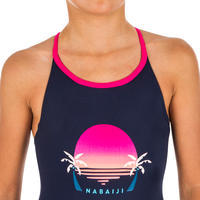 Maillot de bain de natation fille une pièce Riana palm ensoleillé marine
