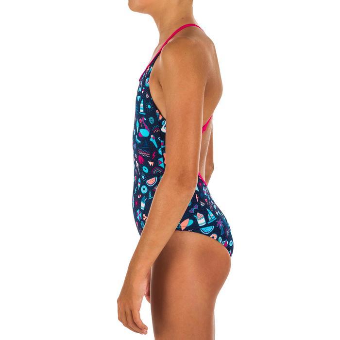 Girls' Swimming One-Piece Swimsuit - Riana All Playa Navy