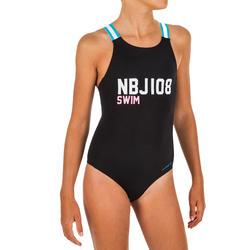 女童款連身泳裝Vega NBJI黑色