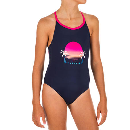 Girls' Swimming One-Piece Swimsuit - Riana Sunny Palm Navy Blue