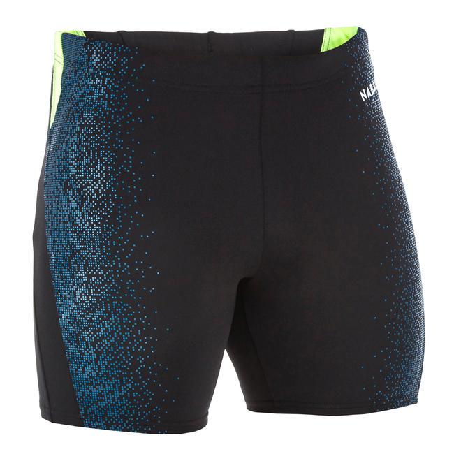 Men swimming boxer shorts - printed black blue