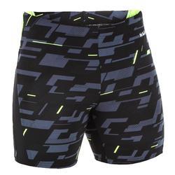 男款長版四角泳褲500-黑灰黃色