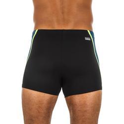Zwemboxer voor heren 500 Fit zwart Evol blauw/geel