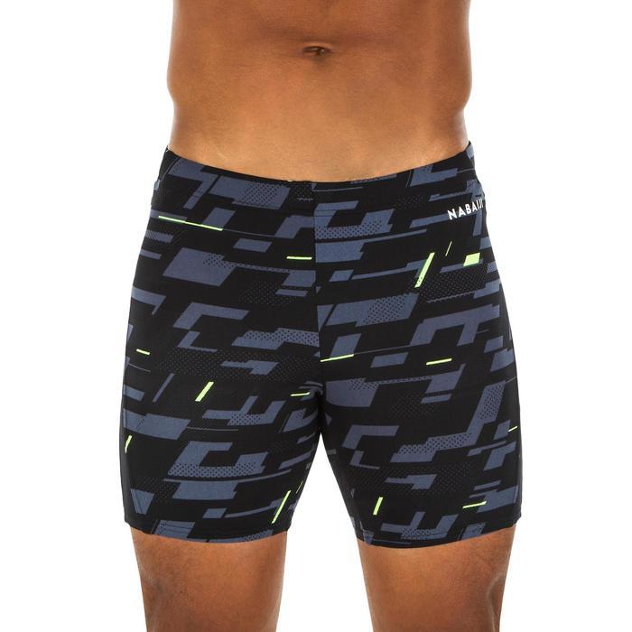 Lange zwemboxer voor heren 500 zwart All Dia grijs/geel