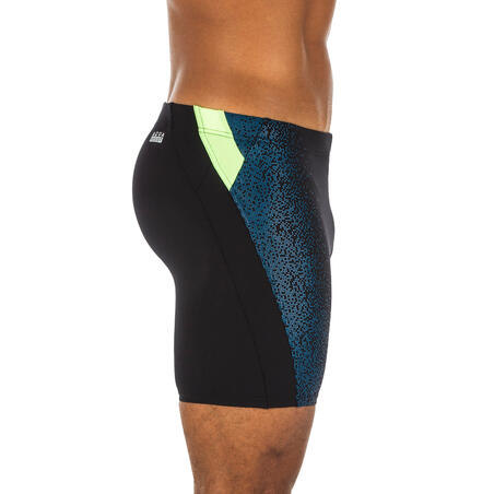 MEN'S SWIM SHORTS LONG BOXER 500 - BLACK YELLOW BLUE